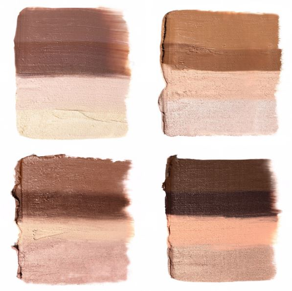 KKW Beauty Contour and highlight Kit Swatches