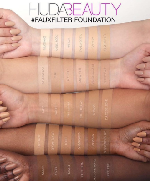Huda Beauty Faux Filter Foundation Swatches